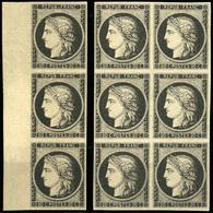 (*) 20c. Noir. Bande De 3 Avec BdeF + Bloc De 6. TB.(cote : 1800) - 1849-1850 Cérès