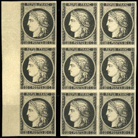(*) 20c. Noir. Bande De 3 Avec BdeF + Bloc De 6. TB.(cote : 1800) - 1849-1850 Ceres
