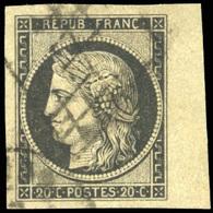 O 20c. Noir. BdeF. Grandes Marges, BdeF Verdâtre Signé Dilleman. TB.(cote : 0) - 1849-1850 Cérès