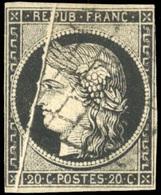 O 20c. Noir. Pli Accordéon. B.(cote : 0) - 1849-1850 Ceres