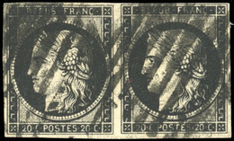 O 20c. Noir S/jaune. Paire Horizontale Obl. 2 Fois Avec Barres En Cercle De LILLE. SUP.(cote : 0) - 1849-1850 Ceres