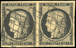 O 20c. Noir S/jaune. Paire. Obl. Grille. SUP.(cote : 0) - 1849-1850 Cérès