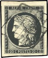 O 20c. Noir Intense S/blanc. Obl. Grille. Belles Marges. Pièce Exceptionnelle. SUP.(cote : 0) - 1849-1850 Ceres