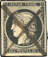 O 20c. Noir S/chamois. Obl. Plume. B.(cote : 0) - 1849-1850 Ceres