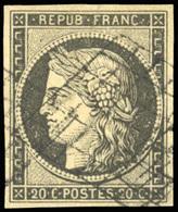 O 20c. Gris-noir. Obl. Grille Légère. SUP.(cote : 0) - 1849-1850 Ceres