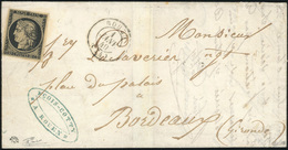 O 20c. Noir Obl. S/lettre Frappée Du CàD De ROUEN (type 15) Du 1er Janvier 1849 à Destination De BORDEAUX. Cachet D'arri - 1849-1850 Cérès