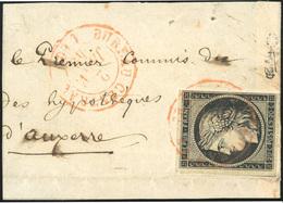 O 20c. Noir Obl. Du Cachet Rouge BUREAU CENTRAL S/petit Fragment De Lettre Frappée Du CàD Rouge BUREAU CENTRAL Du 2 Janv - 1849-1850 Cérès