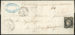 O 20c. Noir Obl. Grille S/lettre Frappée Du CàD De ROCHEFORT-SUR-MER (16) Du 4 Juillet 1849 à Destination De LA MARTINIQ - 1849-1850 Cérès