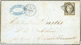 O 20c. Gris-noir, Nuance Tendant Vers Le Gris, Obl. Grille S/lettre Frappée Du CàD De COGNAC 25 Mars 1850 à Destination  - 1849-1850 Cérès
