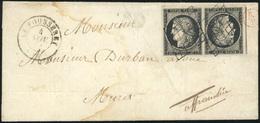 O Paire Du 20c. Noir S/blanc Tête-bêche Obl. Grille S/lettre Frappée Du CàD De LA FOUSSERET Du 4 Novembre à Destination  - 1849-1850 Cérès