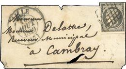 O 20c. Gris (déf.) Obl. Grille S/devant De Lettre Frappée Du Grand CàD De LILLE Du 15 Août 1849 à Destination De CAMBRAY - 1849-1850 Cérès