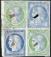 (*) Essai Avec Découpures Pour Coussinet Du 25c. Bleu Foncé X 2 + 15c. Vert S/support Du 1Fr. En Bleu. TB. R.(cote : 0) - 1849-1850 Cérès