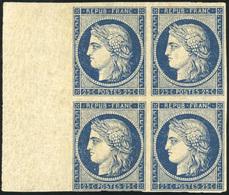 ** 25c. Bleu-noir. Bloc De 4. Grand Bord De Feuille. Trace De Charnière Dans BdeF. SUP. RR.(cote : 0) - 1849-1850 Cérès