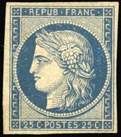 * 25c. Bleu Foncé. Gomme Jaunâtre Mais Superbe D'aspect. SUP.(cote : 9000) - 1849-1850 Cérès