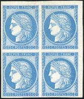 * 25c. Bleu. Réimpression. Bloc De 4. Petit CdeF. B.(cote : 0) - 1849-1850 Ceres