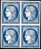 (*) 25. Bleu Foncé. Bloc De 4. Fraîcheur Postale. TB.(cote : 0) - 1849-1850 Ceres