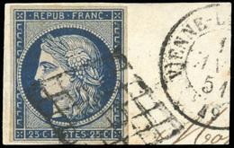 O 25c. Bleu. 3 Pièces De Nuances Différentes. Nuances Extrêmes. Obl. TB.(cote : 0) - 1849-1850 Cérès