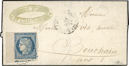 O 25c. Bleu, BdeF, Obl. S/lettre Frappée Du CàD De ST-AMAND LES EAUX Du 25 Novembre 1852 à Destination De BOUCHAIN - NOR - 1849-1850 Cérès