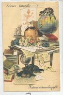 Petit Garçon étudie Les Sciences. Mappemonde, Planche D'anatomie, Crâne, Géode, Chat, Chien. - Scènes & Paysages