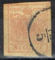 Sello 3 Kreuzer Vermellon, Imperio Astrohungaro 1950, Yvert Num 3 º - 1850-1918 Imperio