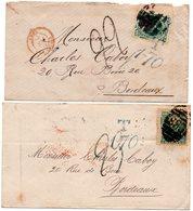 Callao,Pérou Pour Bordeaux-2 Env. Affr.via Londres-Angl-Amb.Calais..Taxe 1-70 Et Taxe Manuscrite - Postmark Collection (Covers)