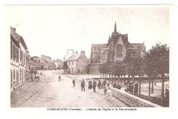 Guerlesquin (29 - Finistère) L'Abside De L'Eglise Et La Rue Principale - Guerlesquin