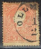 Sello 5 Kreuzer Vermellon, Imperio Astrohungaro 1958, Fechador OLLMUTZ (Olomoucky),  Yvert Num 14 º - 1850-1918 Imperio