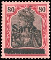 * SAAR. 80p. Rouge Et Noir Sur Rose. SUP.(cote : 300) - Sarre