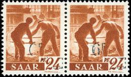 * SAAR. 6Fr. Sur 24p. Brun-orange. Paire Avec Surcharge Très Legère. TB.(cote : 0) - Sarre