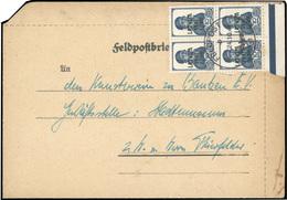 O Ocuupation Allemande N°2. 10k. Bleu-noir. BLoc De 4. Obl. Sur Lettre Frappée Du CàD FELPOST Du 24 OCTOBRE 1941. TB.(co - Lettonie