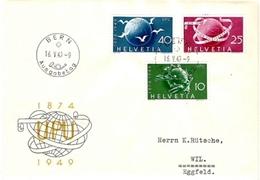 Schweiz Suisse 1949: Zu 294-296 Mi 522-524 Yv 474-476 75 Jahre UPU FDC Mit O BERN 16.V.1949 Ausgabetag (Zu CHF 90.00) - FDC