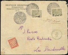O 1pi. S/2pa. Olive X 2 Obl. S/lettre à Destination De DARDANELLES - TURQUIE. A L'arrivée, Lettre Taxée Par Un Timbre Ta - Thrace