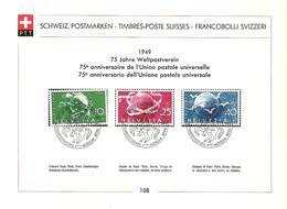 Schweiz Suisse 1949: Zu 294-296 Mi 522-524 Yv 474-476 PTT-Sammelblatt Nr. 108 Mit O PTT-MUSEUM 100 JAHRE POST 1949 - U.P.U.