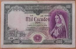 PORTUGAL - NOTA / BANKNOTE 1.000$00 (mil Escudos) - Ch. 8 - 31 De Janeiro De 1956 - Série AH - BEM CONSERVADA / GOOD - Portugal