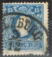 Sello 15 Kreuzer Azul, Imperio Astrohungaro 1958, Fechador SALZBURG,  Yvert Num 16 º - 1850-1918 Imperio