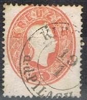 Sello 5 Kreuzer Vermellon, Imperio Astrohungaro 1961, Fechador KIRCHBERG A.d. PILACH,  Yvert Num 19 º - 1850-1918 Imperio