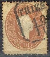 Sello 10 Kreuzer Castaño Amarillo, Imperio Astrohungaro 1961, Fechador TRIESTE (Triest),  Yvert Num 20 º - 1850-1918 Imperio