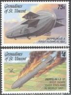 3313 ✅ Transport Militaria War WWI WW1 Aviation Zeppeline 1992 St.Vincent Grenadines 2v Set MNH ** 7ME - Zeppelins