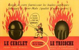 Buvard Le Cerclet + Le Tricoche (boulets De Charbon Fabriqués à St Malo) - Buvards, Protège-cahiers Illustrés