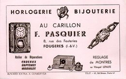 Buvard Au Carillon F. Pasquier 8 R Feuteries Fougères (35) - Buvards, Protège-cahiers Illustrés