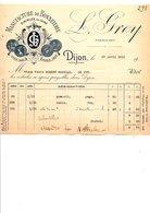 1910 FACTURE L. GREY MANUFACTURE DE BONNETERIE à DIJON - France