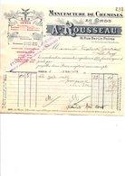 1910 FACTURE A. ROUSSEAU MANUFACTURE DE CHEMISES RUE BERTIN-POIREE à PARIS - France