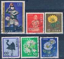 Japon 1966 / 83  -  Yvert  876 + 1231 + 1345 + 1377 + 1517 + 1562  ( Usados ) - Usados