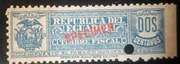O) 1920 ECUADOR, SPECIMEN PUNCH, TIMBRE FISCAL - MANUFACTURED TOBACCO TAX 2c- IMPUESTO AL TABACO MANUFACTURADO, AMERICA - Ecuador