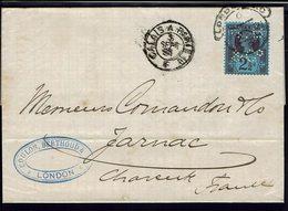 GR-BRETAGNE - 1891 - N° 95 Perforé G. B. & C Sur Lettre De London Pour Jarnac (Fr)  TB - - Storia Postale