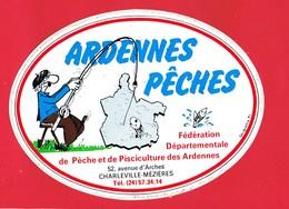 1 Autocollant ARDENNES PÊCHES Fédération De Pêche ... CHARLEVILLE MEZIERES - Autocollants
