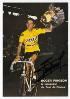 CARTES CYCLISME ROGER PINGEON SIGNEE 1968 - Wielrennen