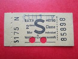 "TICKET  Métro  RATP  PARIS "" S "" - Verso PUB  - BISCOTTES EXONA  - 2° Classe  - 1951 - TBE - Monde"