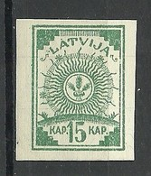 LETTLAND Latvia 1919 Michel 5 B * With 2 Lines - Lettonie