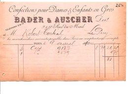 1910 FACTURE BADER & AUSCHER CONFECTIONS RUE DU MAIL à PARIS - France